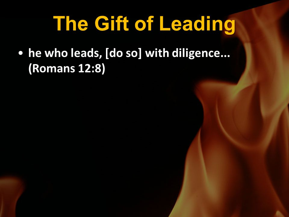 The Gift of Leading he who leads, [do so] with diligence... (Romans 12:8)